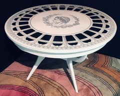 Mid Century Modern Fornasetti Style Painted Round Centre or Dining Table
