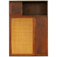 Mid-Century Modern Founders Walnut and Cane Hanging Wall Cabinet Shelving Unit