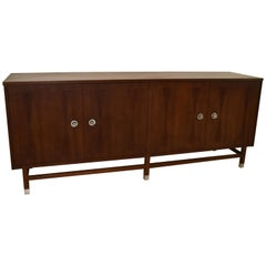 Mid-Century Modern Four-Door Walnut Credenza by Stanley
