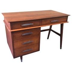 Mid-Century Modern Four-Drawer Walnut Writing Desk by Sligh Lowry