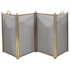 Mid-Century Modern Four Panel Polished Brass & Iron Mesh Adjustable Fire Screen