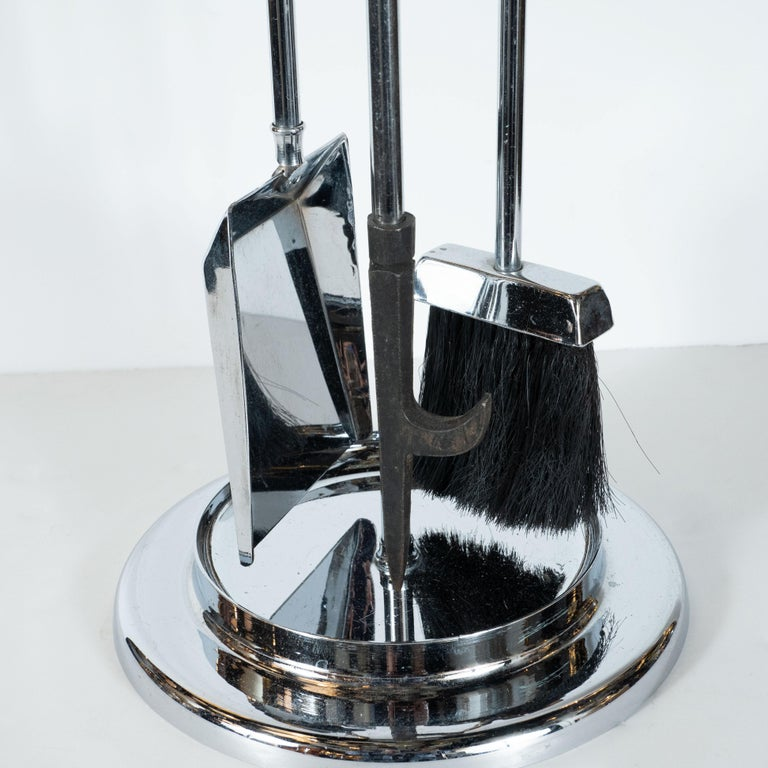 Mid-Century Modern Four-Piece Lucite and Chrome Fire Tool Set For Sale 1