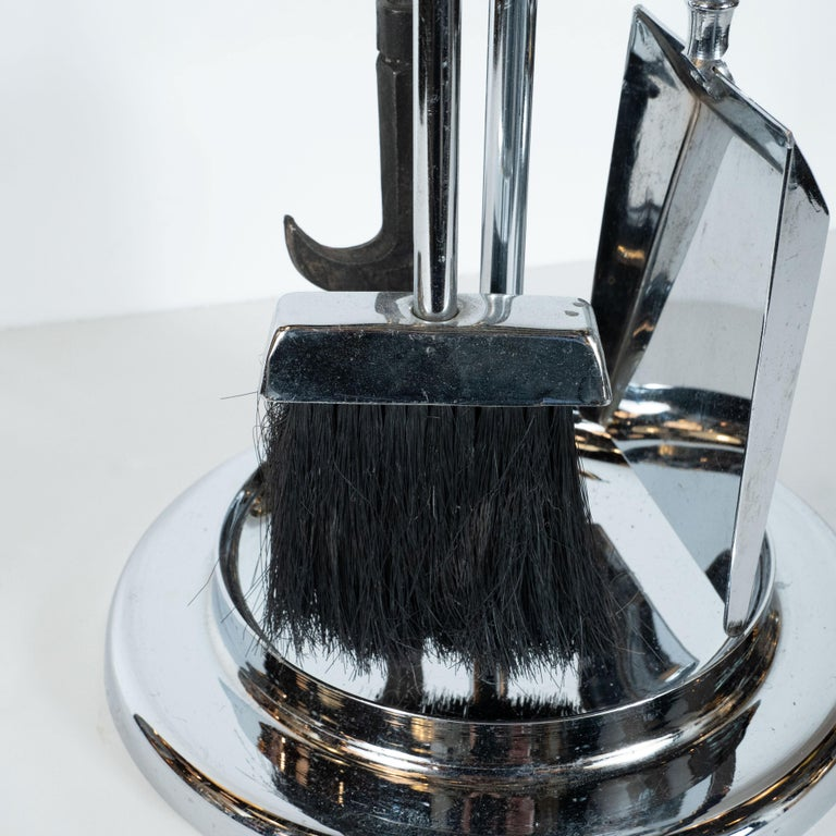 Mid-Century Modern Four-Piece Lucite and Chrome Fire Tool Set For Sale 2