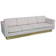 Mid-Century Modern Brass Base Sofa