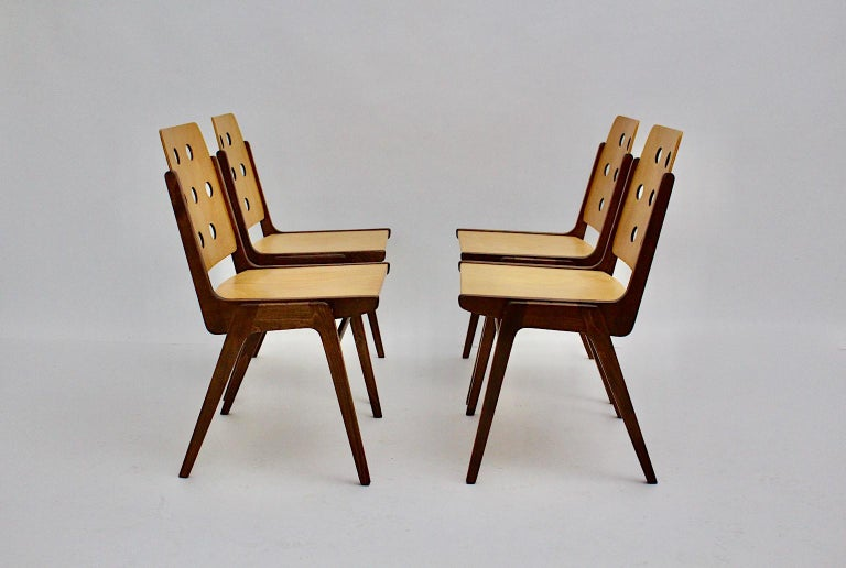 Mid-Century Modern Four Vintage Brown Bicolor Beech Dining Chairs Franz Schuster For Sale 5