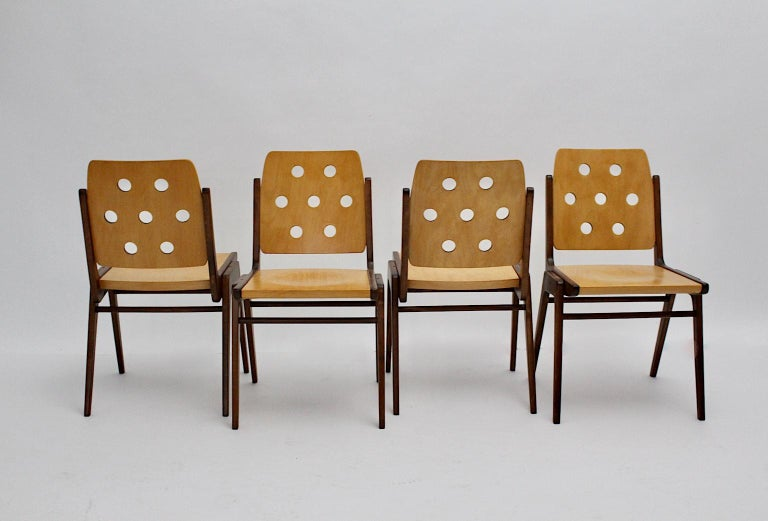 Mid-Century Modern Four Vintage Brown Bicolor Beech Dining Chairs Franz Schuster For Sale 6