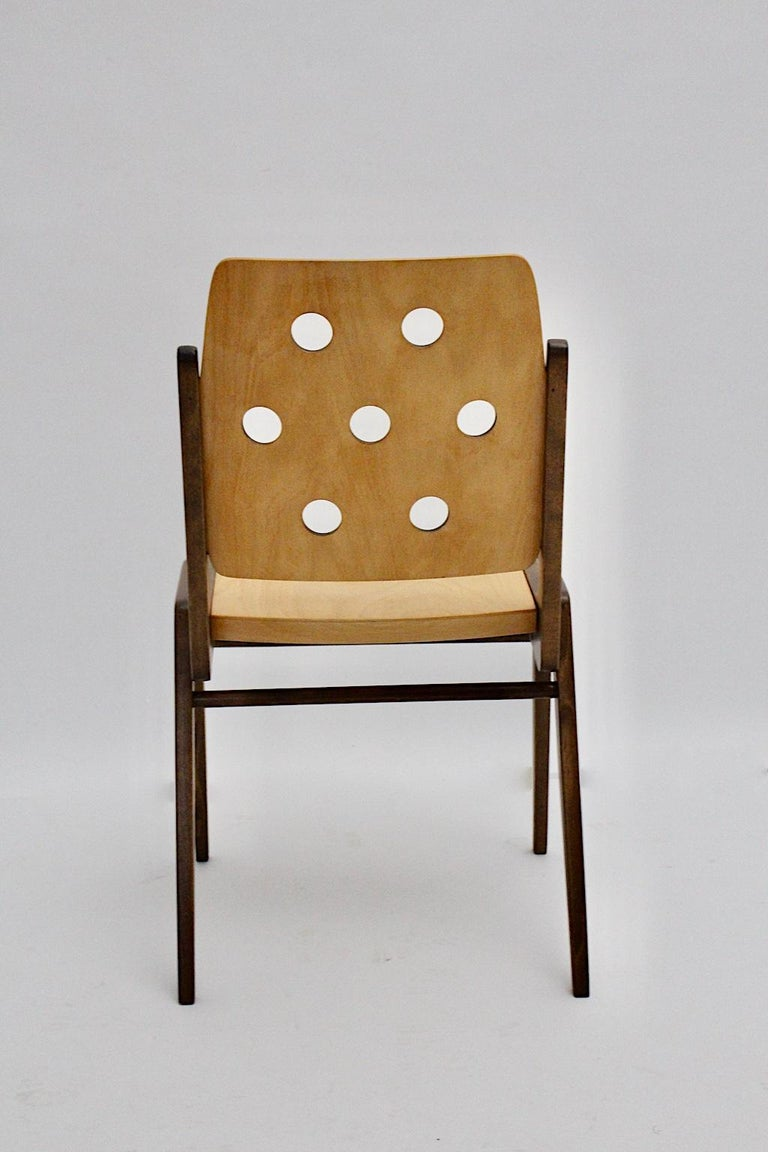 Mid-Century Modern Four Vintage Brown Bicolor Beech Dining Chairs Franz Schuster For Sale 11