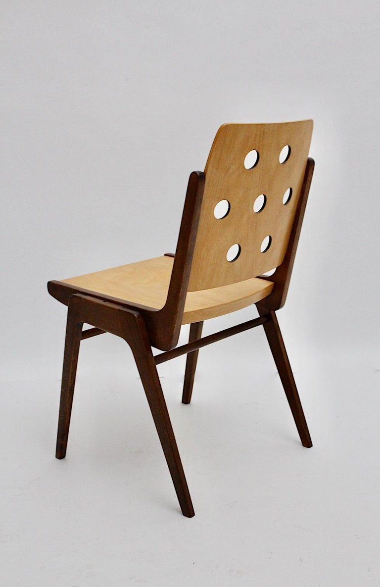 Mid-Century Modern Four Vintage Brown Bicolor Beech Dining Chairs Franz Schuster For Sale 12