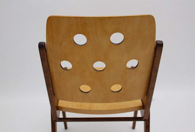 Mid-Century Modern Four Vintage Brown Bicolor Beech Dining Chairs Franz Schuster For Sale 13