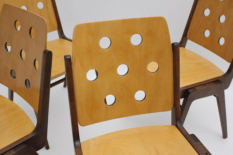 Mid-Century Modern Four Vintage Brown Bicolor Beech Dining Chairs Franz Schuster For Sale 14
