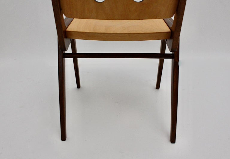Mid-Century Modern Four Vintage Brown Bicolor Beech Dining Chairs Franz Schuster For Sale 15