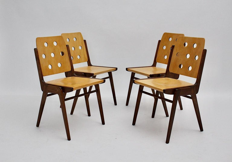 Austrian Mid-Century Modern Four Vintage Brown Bicolor Beech Dining Chairs Franz Schuster For Sale