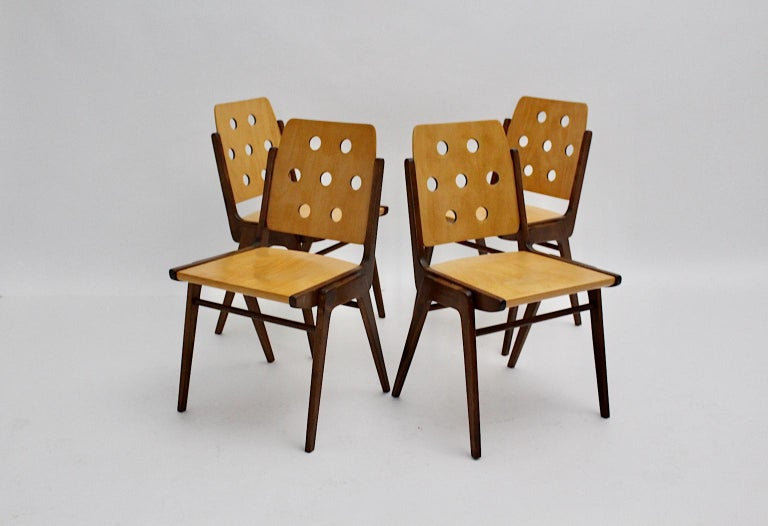 Mid-Century Modern Four Vintage Brown Bicolor Beech Dining Chairs Franz Schuster In Good Condition For Sale In Vienna, AT