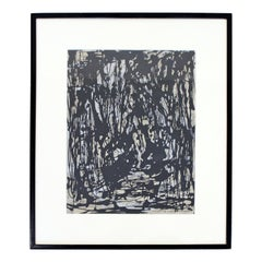 Mid-Century Modern Framed Abstract Acrylic Painting Signed E. Arnold Clark