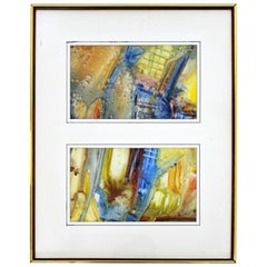 Mid-Century Modern Framed Abstract Encaustic Mixed-Media Diptych Signed L. Biro