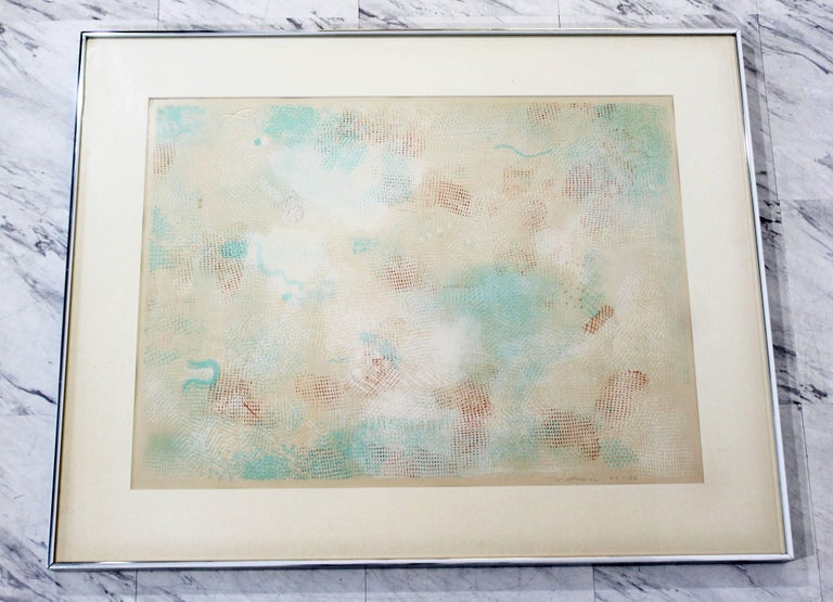 For your consideration is a magnificent, framed, abstract lithograph, signed Natkin and numbered 57/150, dated 1972. In excellent condition. The dimensions of the frame are 38.5