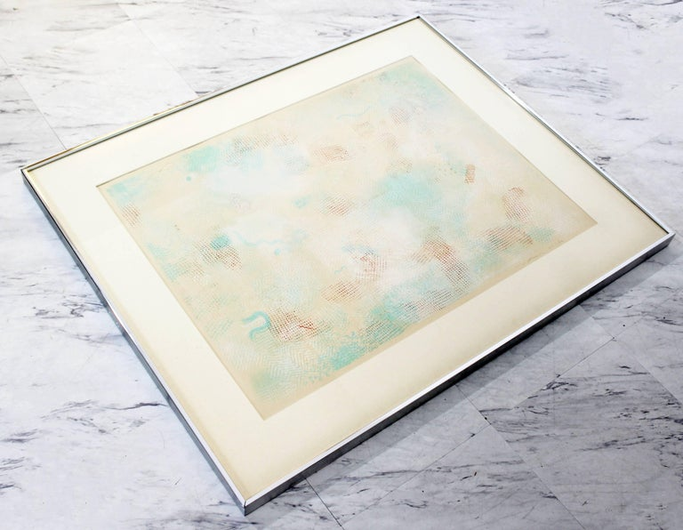 American Mid-Century Modern Framed Abstract Litho Robert Natkin Dated 1970s For Sale