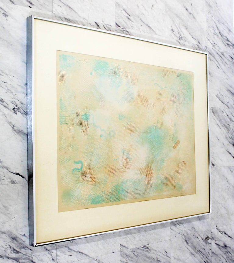 Mid-Century Modern Framed Abstract Litho Robert Natkin Dated 1970s In Good Condition For Sale In Keego Harbor, MI