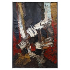 Mid-Century Modern Framed Abstract Oil Painting Canvas Signed Mildred Friedman