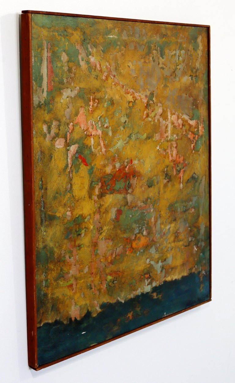 For your consideration is a stunning, framed, abstract oil on canvas painting, signed by Mable Moss, circa the 1960s. In very good vintage condition. The dimensions are 24.5