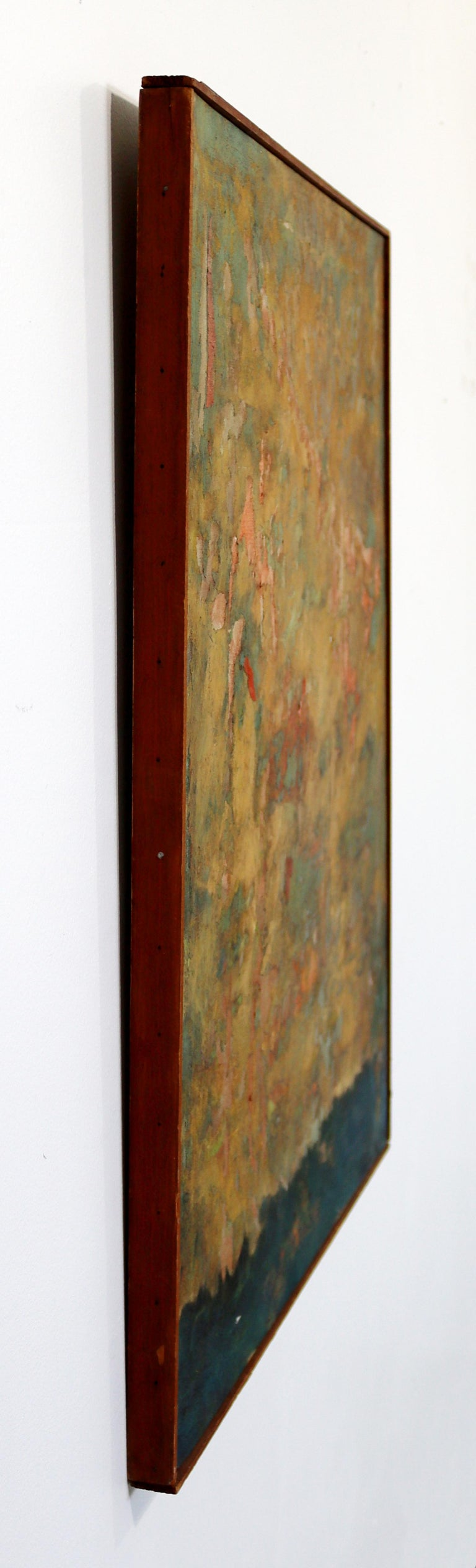Mid-Century Modern Framed Abstract Oil Painting on Canvas Signed Mable Moss 60s In Good Condition For Sale In Keego Harbor, MI