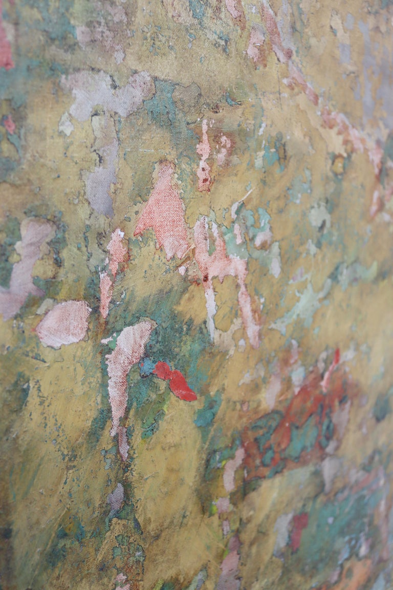 Mid-20th Century Mid-Century Modern Framed Abstract Oil Painting on Canvas Signed Mable Moss 60s For Sale