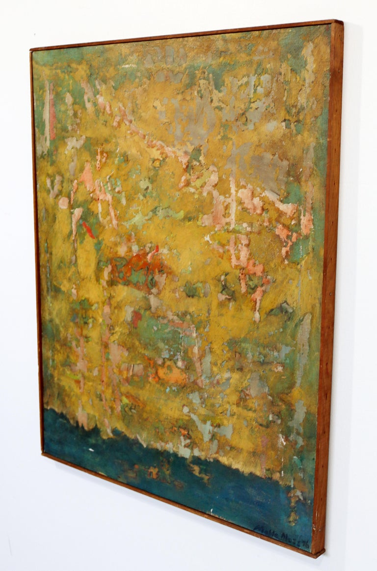 Mid-Century Modern Framed Abstract Oil Painting on Canvas Signed Mable Moss 60s For Sale 1
