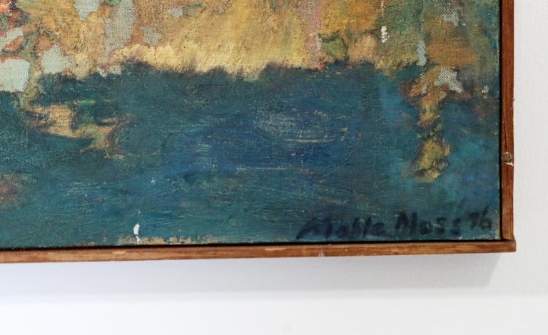 Mid-Century Modern Framed Abstract Oil Painting on Canvas Signed Mable Moss 60s For Sale 2