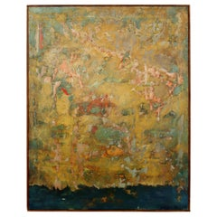 Mid-Century Modern Framed Abstract Oil Painting on Canvas Signed Mable Moss 60s