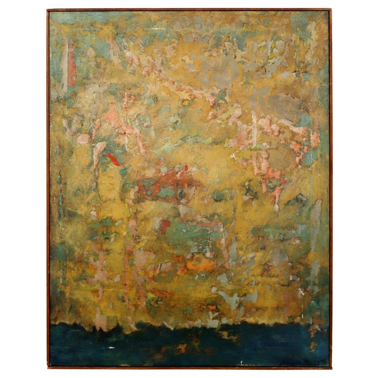 Mid-Century Modern Framed Abstract Oil Painting on Canvas Signed Mable Moss 60s For Sale