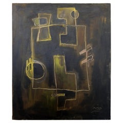Mid-Century Modern Framed Abstract Oil Painting on Canvas Signed Mitch 1970s