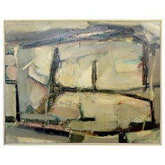 Mid-Century Modern Framed Abstract Oil Painting Signed by Emil Weddige, 1960s