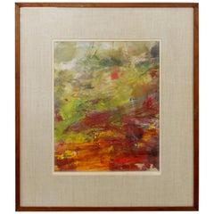 Mid-Century Modern Framed Abstract Oil Painting Signed Marjorie Sullivan, 1960s
