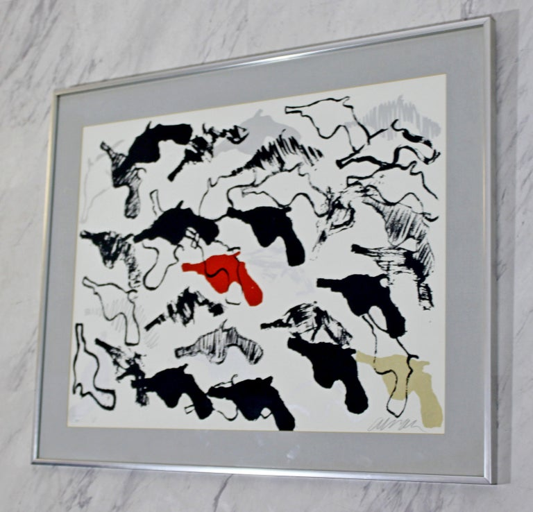 Mid-Century Modern Framed Abstract Print Boom Boom Signed Arman Numbered, 1966 In Good Condition For Sale In Keego Harbor, MI