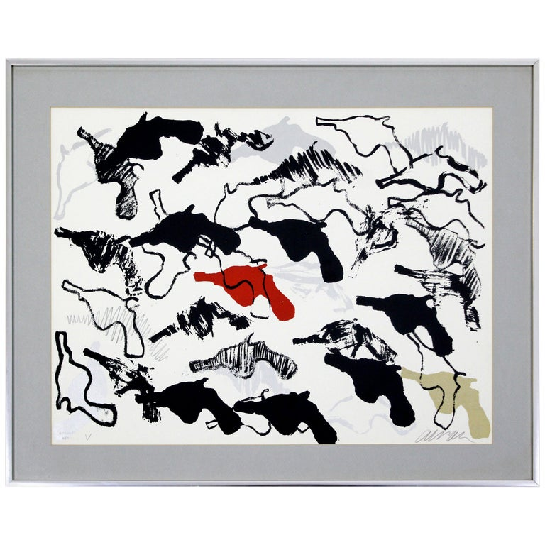 Mid-Century Modern Framed Abstract Print Boom Boom Signed Arman Numbered, 1966 For Sale
