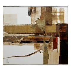 Mid-Century Modern Framed Acrylic Canvas Painting Signed Greg Hawthorne, 1970s