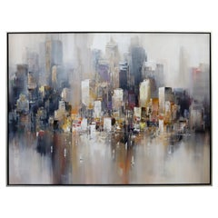 Mid-Century Modern Framed Acrylic Painting Canvas Signed Wilfred 1970s Cityscape