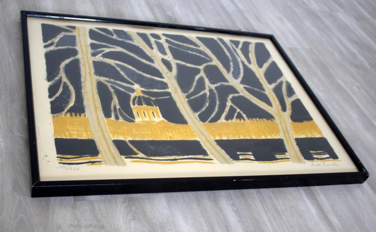 Mid-Century Modern Framed Andre Brasilier Quai Conti Paris 1972 Signed Litho In Good Condition For Sale In Keego Harbor, MI
