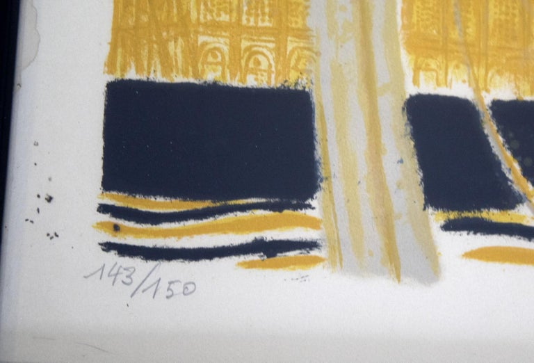 Late 20th Century Mid-Century Modern Framed Andre Brasilier Quai Conti Paris 1972 Signed Litho For Sale