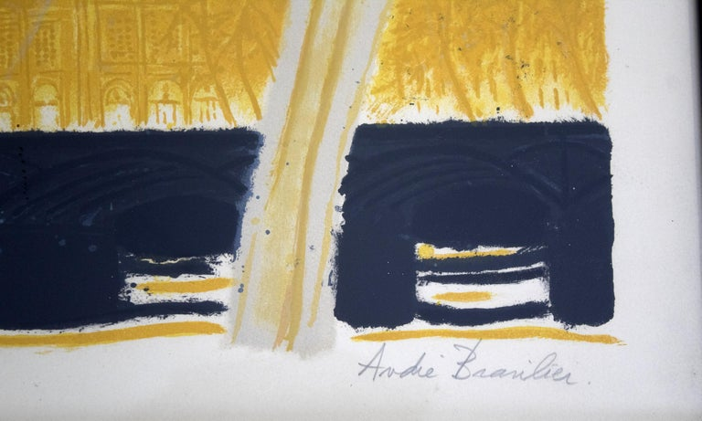 Paper Mid-Century Modern Framed Andre Brasilier Quai Conti Paris 1972 Signed Litho For Sale