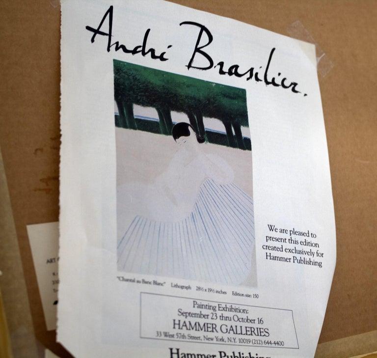 Mid-Century Modern Framed Andre Brasilier Quai Conti Paris 1972 Signed Litho For Sale 1