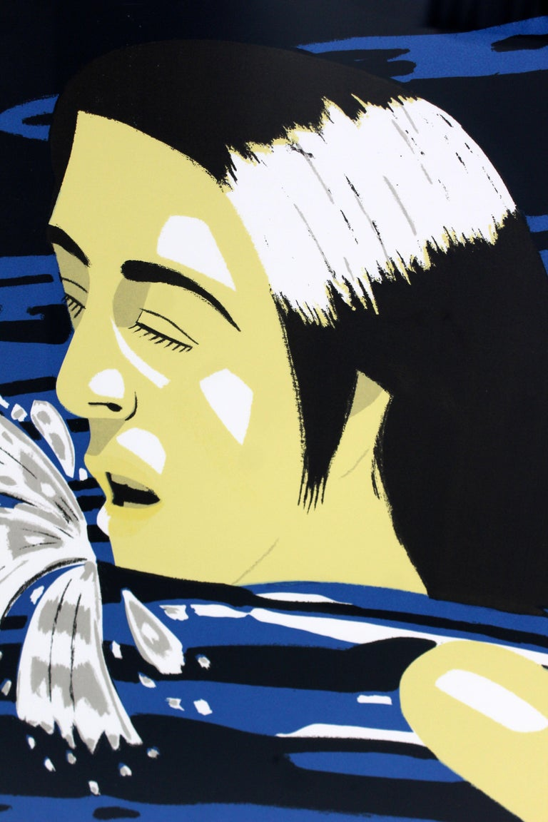 Mid-Century Modern Framed AP Serigraph Olympic Swimmer Alex Katz Signed, 1970s In Good Condition In Keego Harbor, MI