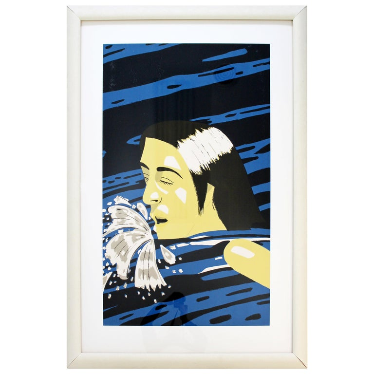 Mid-Century Modern Framed AP Serigraph Olympic Swimmer Alex Katz Signed, 1970s