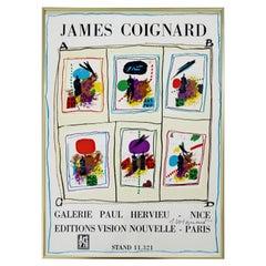 Mid-Century Modern Framed Art Poster Signed by James Coignard, 1978