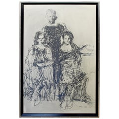 Mid-Century Modern Framed Charcoal Drawing Signed Carol Wald, 1967 Portrait