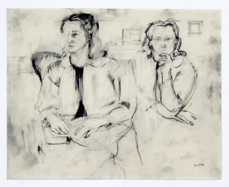 For your consideration is an intriguing, framed, original charcoal drawing, of a pair of women, signed by Larry Rivers. In excellent condition. The dimensions of the frame are 23.5