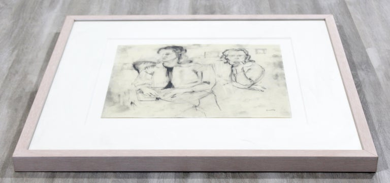 American Mid-Century Modern Framed Charcoal Drawing Signed Larry Rivers Couple of Women For Sale