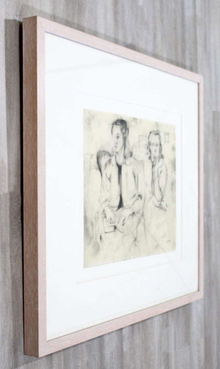 Mid-Century Modern Framed Charcoal Drawing Signed Larry Rivers Couple of Women In Good Condition For Sale In Keego Harbor, MI