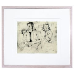 Mid-Century Modern Framed Charcoal Drawing Signed Larry Rivers Couple of Women