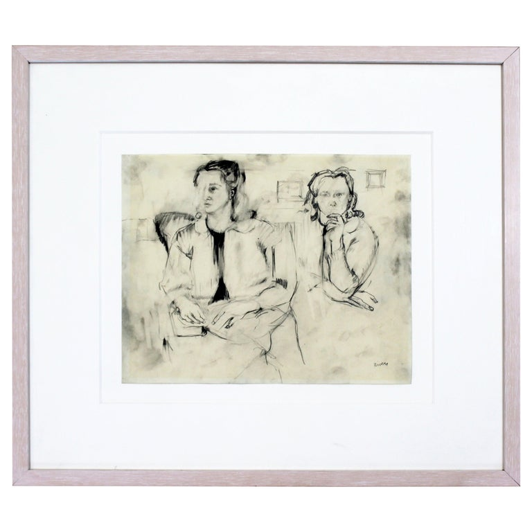 Mid-Century Modern Framed Charcoal Drawing Signed Larry Rivers Couple of Women For Sale